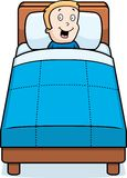 Boy Bedtime. A cartoon boy in bed smiling Royalty Free Stock Photo