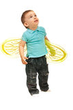 Boy with bee wings looking up. Small boy with bee wings looking up isolated on white background Royalty Free Stock Photo