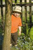 Boy behind the tree. Royalty Free Stock Photos