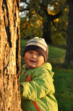 Boy behind tree Stock Photography