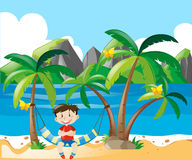 Boy being happy by the beach. Illustration Royalty Free Stock Photos