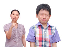 Boy Being Scolded by his mother Royalty Free Stock Photography