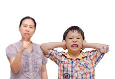 Boy Being Scolded by his mother Royalty Free Stock Photos