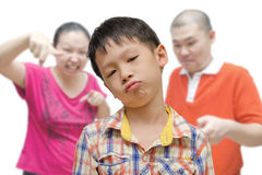 Boy Being Scolded by Parents Stock Photos