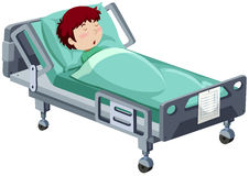 Boy being sick in hospital bed Stock Photos