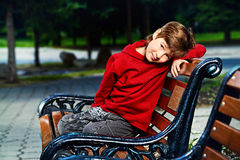 Boy on the bench Royalty Free Stock Photography