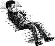 Boy on the bench Stock Photos