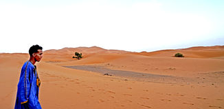 A boy berried in the dunes of the ERG desert in Morocco stock photos