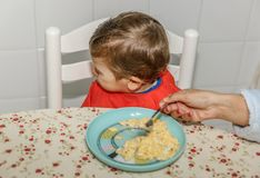 A boy with a bib refuses to eat food at the kitchen table in his house stock image