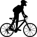 Boy and bicycle. Illustration of a boy and bicycle Royalty Free Stock Images