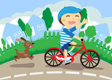 Boy on bicycle. The boy on bicycle, running dog, illustration vector illustration