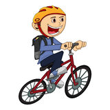 Boy on a bicycle cartoon Royalty Free Stock Images