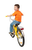 Boy on bicycle isolated on white Stock Photos