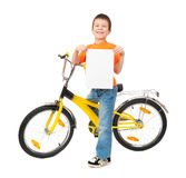 Boy on bicycle isolated Stock Images