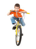 Boy on bicycle isolated Royalty Free Stock Image