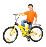 Boy on bicycle isolated Royalty Free Stock Photos