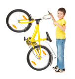 Boy on bicycle isolated Royalty Free Stock Photography