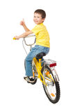 Boy on bicycle isolated Royalty Free Stock Photo