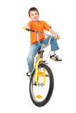 Boy on bicycle isolated Stock Photo