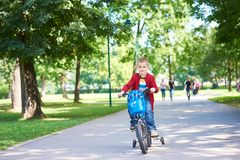Boy on the bicycle at Park Stock Photo