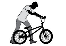 Boy with a bicycle. A boy rides a bicycle on a walk.  Silhouette on a white background Stock Image
