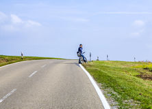 Boy on a bicycle tour in Bavaria Stock Image