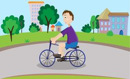 Boy on a bicycle. Vector illustration of boy on a bicycle Stock Photo