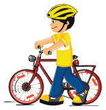 Boy with a bicycle. Vector on a white background vector illustration