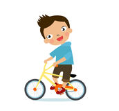 Boy on a bicycle  on a white background Stock Photography