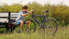 Boy With Bicycle stock video footage