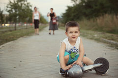 Boy with bicycle Royalty Free Stock Photography