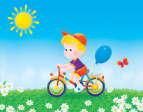 Boy bicycles on the grass. Color clip-art illustration of a boy cycling on the grass in summer day Royalty Free Stock Photography