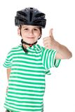Boy bicyclist with helmet Stock Photo