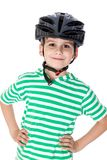 Boy bicyclist with helmet Stock Image