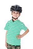 Boy bicyclist with helmet Royalty Free Stock Photos