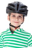 Boy bicyclist with helmet Royalty Free Stock Image