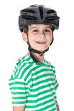 Boy bicyclist with helmet Royalty Free Stock Images