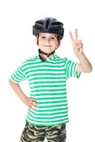 Boy bicyclist with helmet Stock Images