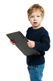 Cute Boy with Big Calculator Royalty Free Stock Photo