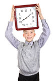 Boy with Big Clock Stock Photos