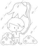 Boy with a big flower under the rain coloring page Stock Photography