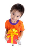Boy with big gift box Royalty Free Stock Photography