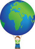 Boy and big globe Royalty Free Stock Photos