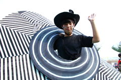 Boy with Big Hat in Grand Finale Parade. Standard Chartered Arts in the Park Mardi Gras is one of Hong Kong's largest and most vibrant annual community arts Royalty Free Stock Images