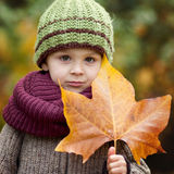 Boy with big leaf Royalty Free Stock Images
