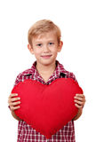 Boy with big red heart Royalty Free Stock Photos