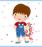 Boy with big rose Stock Photo