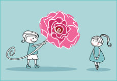 Boy with big rose. Vector illustration of an boy with big rose and shy girl Royalty Free Stock Image