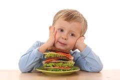 Boy and big sandwich Royalty Free Stock Photos