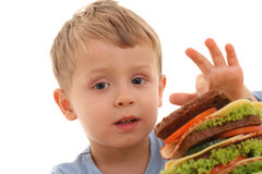 Boy and big sandwich Royalty Free Stock Photo